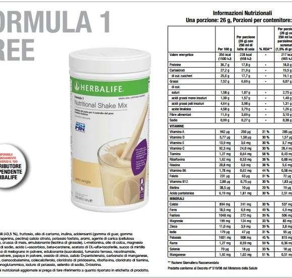 Formula 1 Free informazioni nutrizionali